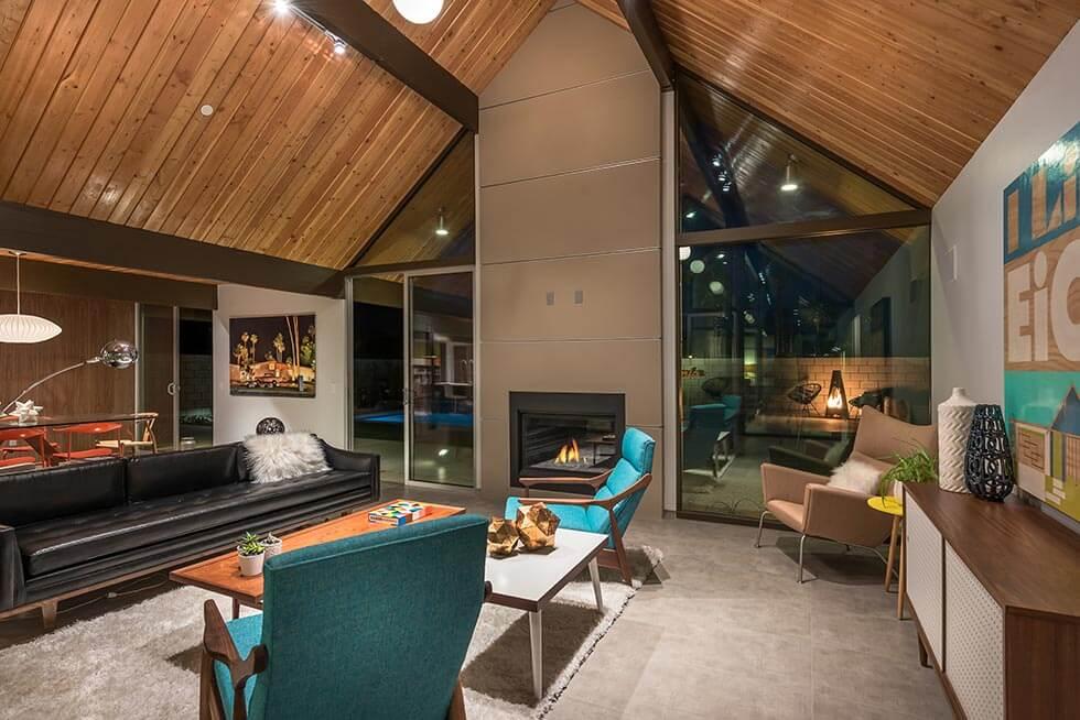 The Desert Eichler 2 Living Room at twilight
